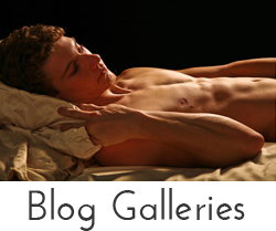 """Blog Galleries"" button - image of a naked man lying in bed"
