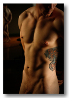 Chad Gallery button - image of defined front male nude torso in studio light