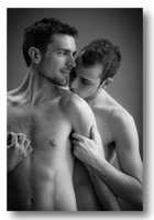 Nate and Zach Gallery button - image of passionate male nude couple in beautiful window light